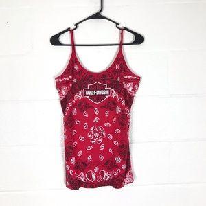 Harley bandana print cami  top size XL red tank